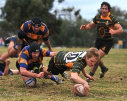 Slipping out of a tackle from Albury's Ryan Schishka, Ag College five-eighth Dan Moloney plants the ball over the line in a SIRU rugby union game.