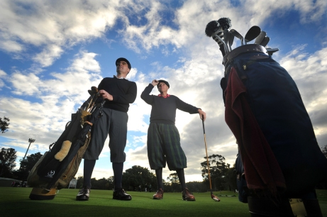 Darron Watt and Lachie Wilson before flying to Scotland to represent Australia in the World Hickory Golf Championships. 2013.